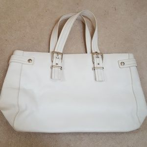 Express white leather tote bag